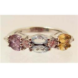 STERLING SILVER MULTI COLOR TOPAZ, AMETHYST & CITRINE RING - SIZE 6