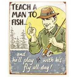 "FISHING FUNNY  METAL SIGN APPROX. 16"" X 13"""