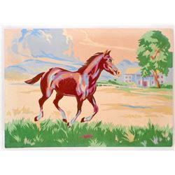 "VINTAGE PAINT BY NUMBER RUNNING HORSE PAINTING 10"" X 14"""