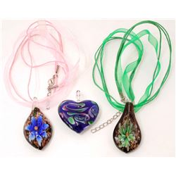 LOT OF 3 MURANO GLASS PENDANT NECKLACE