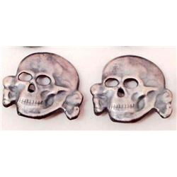 PAIR OF NAZI GERMAN SS SKULL HAT BADGES