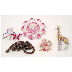 LOT OF 5 COSTUME JEWELRY BROOCHES