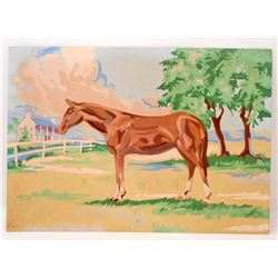 VINTAGE PAINT BY NUMBER HORSE STANDING PAINTING
