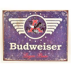 "BUDWEISER METAL SIGN APPROX. 16"" X 13"""