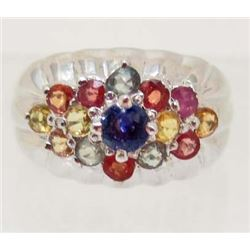 STERLING SILVER MULTI COLORS SAPPHIRE RING SIZE 7