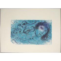 Marc Chagall Flutist Musician Art Print -Blue Flute