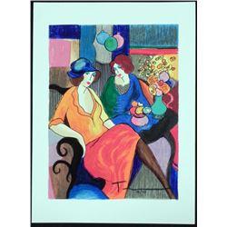 Itzchak Tarkay Signed Ltd Ed Art Print Chit Chat