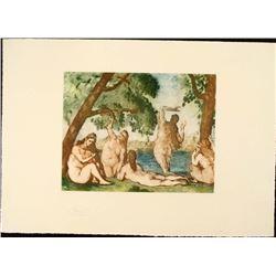 Cezanne Colored Etching Art Print - Five Bathers