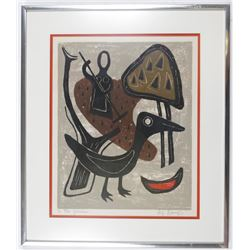 In the Garden by Alfonsas Dargis Color Woodcut Framed