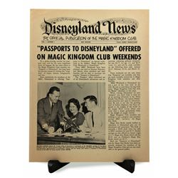 The DISNEYLAND NEWS - MAGIC KINGDOM CLUB Newsletter  Volume 1, Number 1 1962