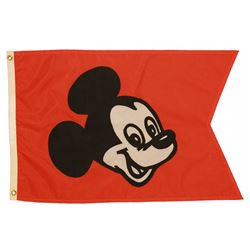 1970s Disneyland MAIN STREET TRAIN STATION - MICKEY MOUSE Entrance Flag