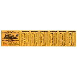 1957 SANTA FE & DISNEYLAND RAILROAD First Class All Points Full Check Ticket - GOLD