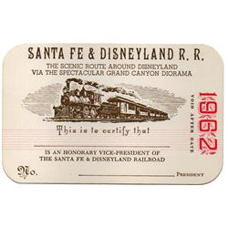 RARE 1962 Disneyland SANTA FE & DISNEYLAND RAILROAD and MONORAIL Honorary Vice-President PASS