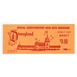 1970 Disneyland ADULT - SPECIAL COMPLIMENTARY MAIN GATE ADMISSION - UNUSED