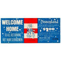1968 Disneyland VIETNAM SERVICEMEN - SPECIAL COMPLIMENTARY TICKET DISCOUNT VOUCHER - UNUSED