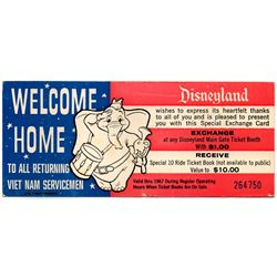 1967 Disneyland VIETNAM SERVICEMEN - SPECIAL COMPLIMENTARY TICKET DISCOUNT VOUCHER - With TWO Partia