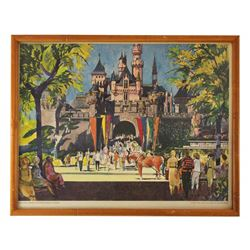 1962 Disneyland UNITED AIRLINES PROMOTIONAL DISNEYLAND CASTLE Framed Lithograph Print