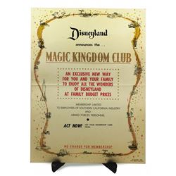 Disneyland MAGIC KINGDOM CLUB - Announcing Poster