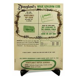 Disneyland MAGIC KINGDOM CLUB - Green Membership and Magic Key Ticket Poster
