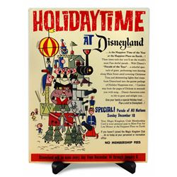 HOLIDAYTIME AT DISNEYLAND 1962 Magic Kingdom Club Ticket Booth Poster