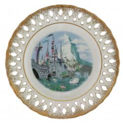 1959 Disneyland Castle & Matterhorn Decorative Lace Plate