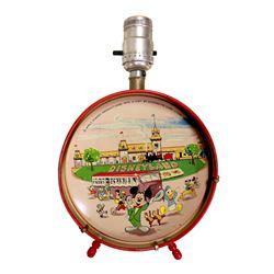 1956 Disneyland Tin Litho Child's Drum Lamp