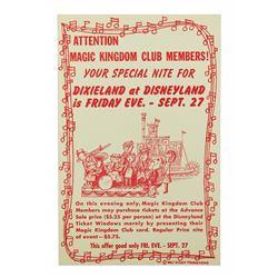 Disneyland Magic Kingdom Club Preview Nite 1963 DIXIELAND AT DISNEYLAND Handbill Flyer