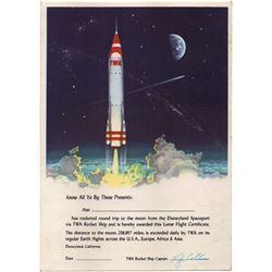 TWA ROCKET TO THE MOON Lunar Flight Certificate Giveaway - Unused