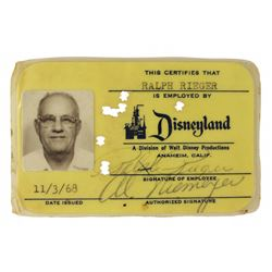 1960s Disneyland Employee Paper Set with Original EMPLOYEE IDENTIFICATION CARD