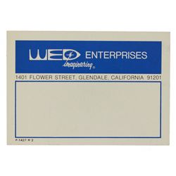 1970s WED ENTERPRISES Adhesive Label