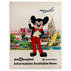1976 EASTERN AIRLINE Mickey Mouse WALT DISNEY WORLD Travel Agency Poster