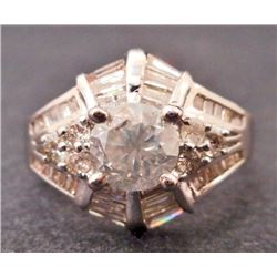 18KT WHITE GOLD LADIES DIAMOND UNITY RING - SIZE 6.5