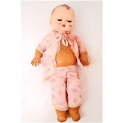 VINTAGE BABY DOLL W/ COMPOSITION HEAD AND RUBBER BODY