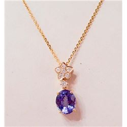 14KT GOLD LADIES TANZANITE & DIAMOND PENDANT W/ CHAIN & APPRAISAL
