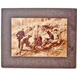 ANTIQUE MOUNTED WASHINGTON LOGGING PHOTO OF MEN SPLICING CABLE