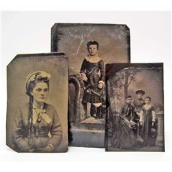 LOT OF 3 ANTIQUE TIN TYPE PHOTOS - YOUNG LADIES