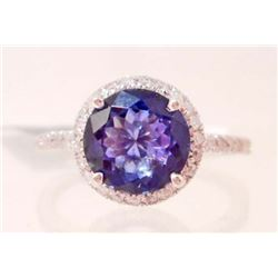 14KT WHITE GOLD LADIES TANZANITE & DIAMOND RING W/ APPRAISAL - SIZE 7