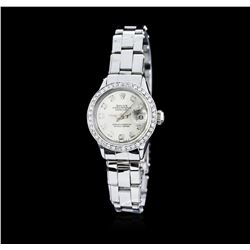 Ladies Rolex DateJust Stainless Steel Diamond Wristwatch