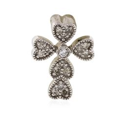 10KT White Gold 0.15 ctw Diamond Cross Pendant