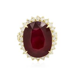 14KT Yellow Gold 4.66 ctw Ruby and Diamond Ring