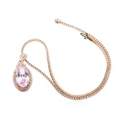 14KT Rose Gold 32.47 ctw GIA Certified Kunzite and Diamond Pendant With Chain