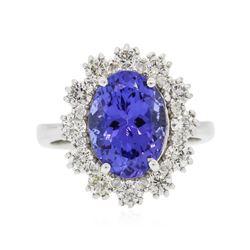 14KT White Gold 4.25 ctw Tanzanite and Diamond Ring