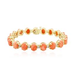14KT Yellow Gold 16.91 ctw Coral and Diamond Bracelet