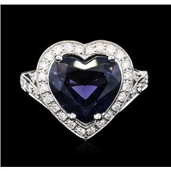 14KT White Gold 4.22 ctw Blue Spinel and Diamond Ring