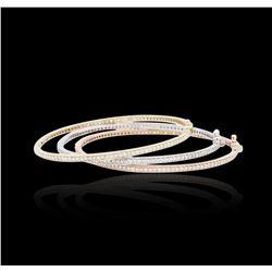 14KT Three-Tone Gold 2.64 ctw Diamond Bangle Bracelets