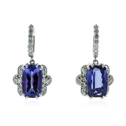 14KT White Gold 10.60 ctw Tanzanite and Diamond Earrings