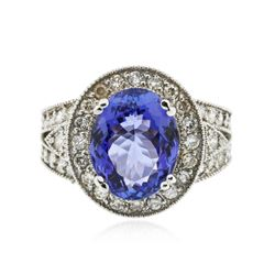 14KT White Gold 5.21 ctw Tanzanite and Diamond Ring