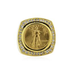 14KT Yellow Gold 0.44 ctw Diamond Coin Ring
