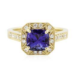 14KT Yellow Gold 1.78 ctw Tanzanite and Diamond Ring
