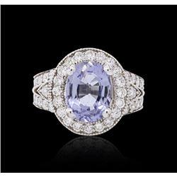 14KT White Gold 3.61 ctw Tourmaline and Diamond Ring